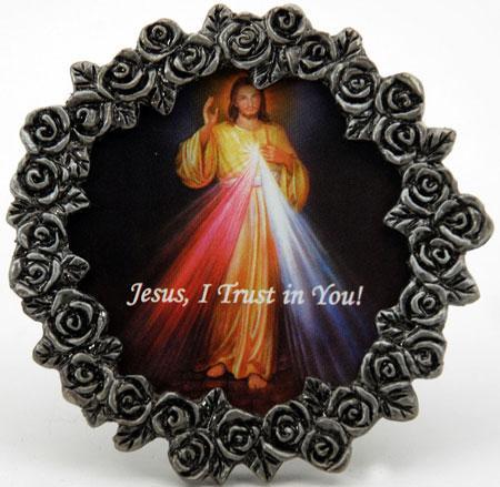 The Divine Mercy Mini  Pewter Frame #MPF-DM
