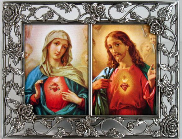 Sacred Heart and Immaculate Heart  Pewter Frame #23DPF-SHJ/IHM