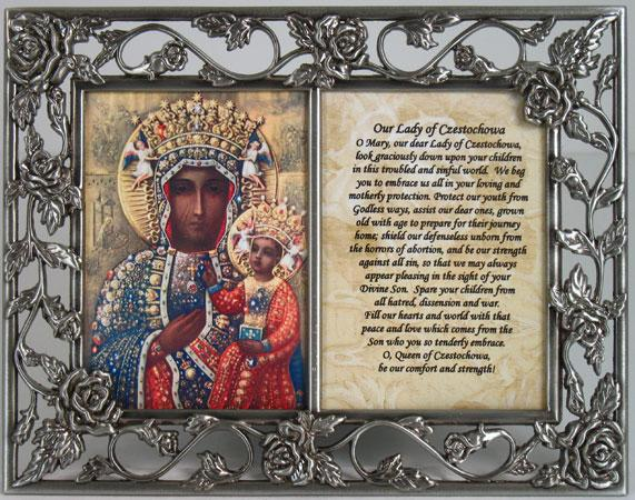Our Lady of  Czestochowa Pewter Frame with prayer #23DPF-OLCZ