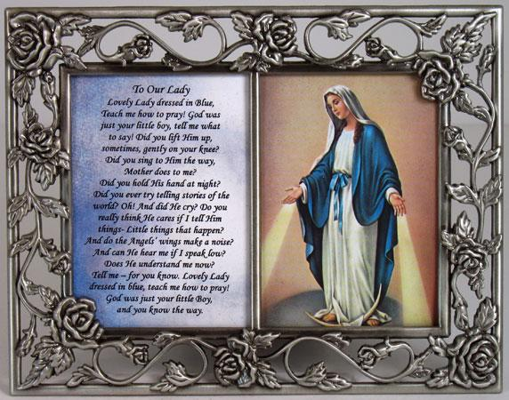 Our Lady of Grace  Pewter Frame with prayer #23DPF-OLG