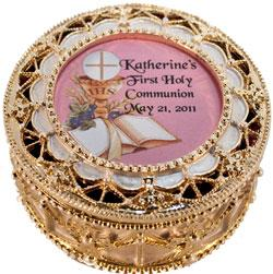 Personalized Communion Rosary Box 489-HC7-P