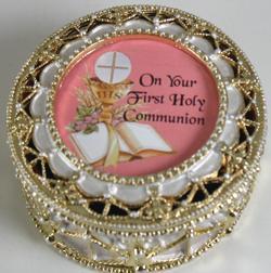 First Communion Rosary Box #498-HC7