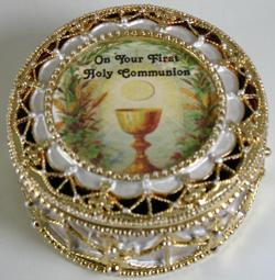 First Communion Rosary Box #498-HC4