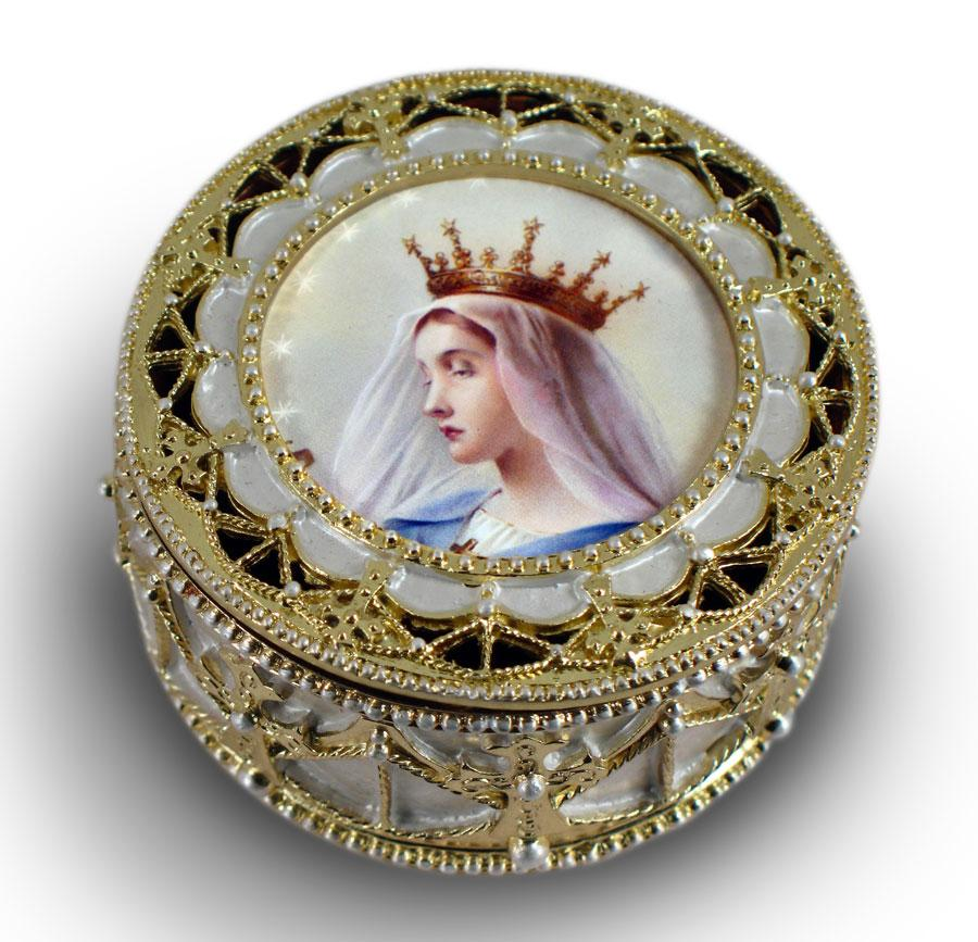 Queen of Heaven Gold Rosary Box #489-QH