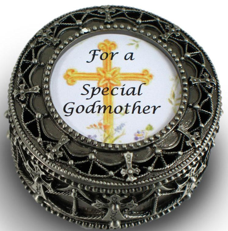 Godmother Pewter Cross Rosary Box #4892-GM