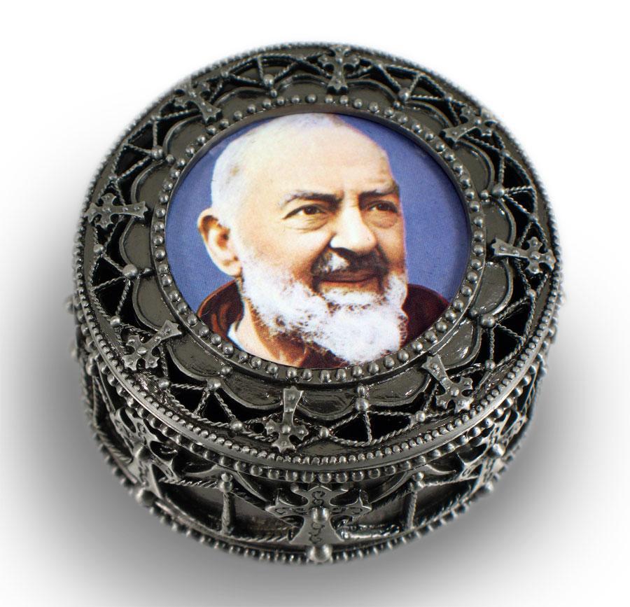 Padre Pio  Rosary  Box #4892-PP