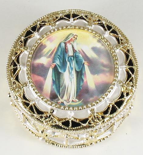 Our Lady of Grace Gold Rosary Box #489-OLG
