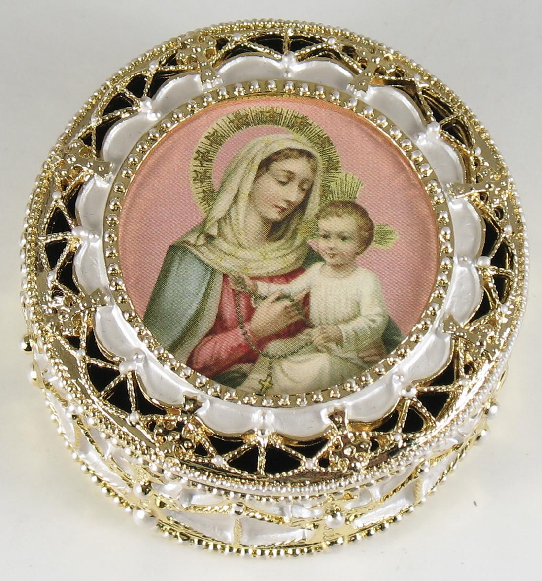 Our Lady of Rosary Gold Rosary Box #489-OLRB