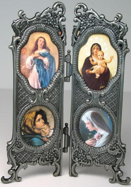 Images of Our Lady Hinged Pewter Frame #4OP-OL3