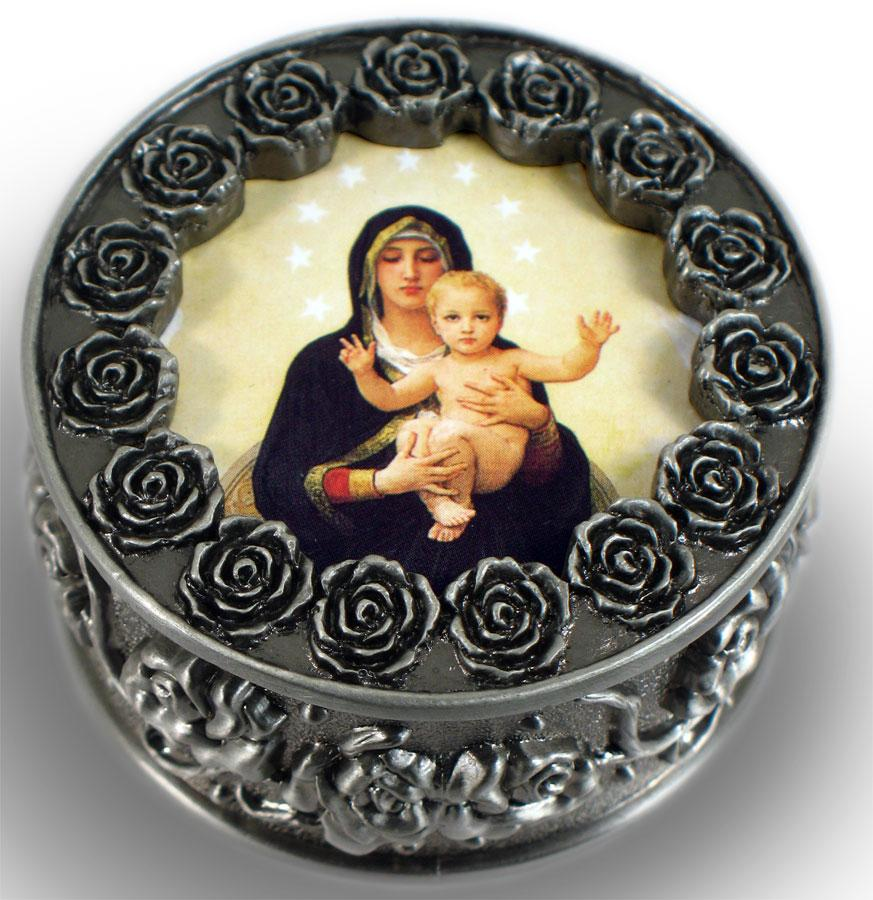 Queen of Angels Pewter Rosary box #PRBX-QA