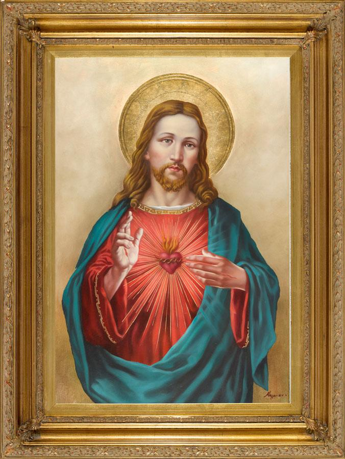 Sacred Heart of Jesus Oil Canvas Painting #2623-SHJ10