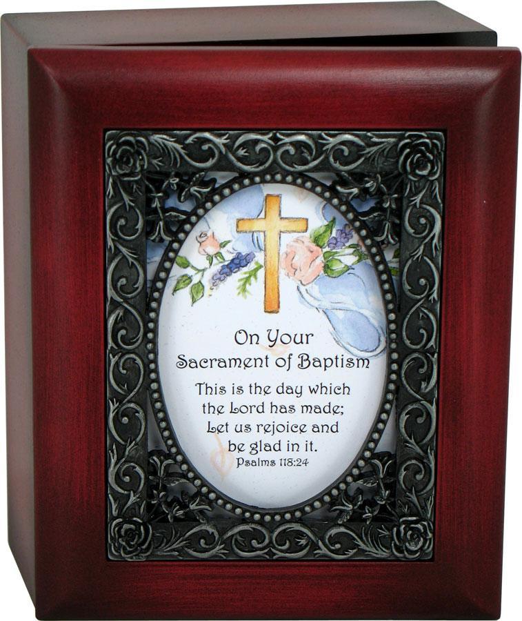 Cross and Roses Baptismal Keepsake Box #SJBX-BAPK