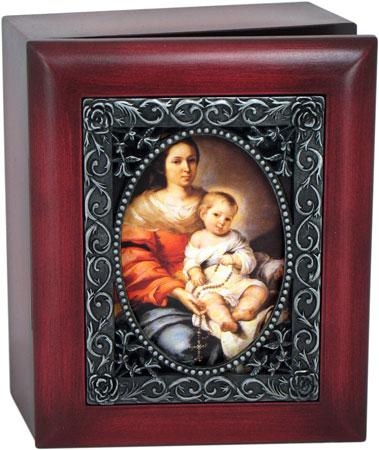 Our Lady of the Rosary 4x5 Keepsake box SJBX-OLR