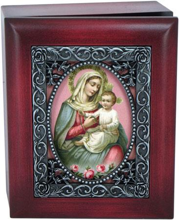 Our Lady of the Rosary 4x5 Keepsake box SJBX-OLR(b)