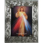 The Divine Mercy 5x7 Rose Pewter Frame #57PF-DM