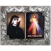 The Divine Mercy with St Faustina Pewter Frame #23DPF-BF2