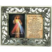The Divine Mercy with Chaplet Pewter Frame #23DPF-DM