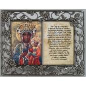 Our Lady of  Czestochowa Pewter Frame with prayer #23DPF-OLCZ