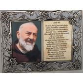 Saint Pio Pewter Frame with Prayer #23DPF-PP