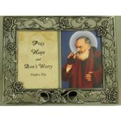 Saint Pio Pewter Frame with Prayer #23DPF-PP3