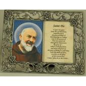 Saint Pio Pewter Frame with Prayer #23DPF-PP4