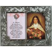 St. Therese Pewter Frame with prayer #23DPF-STT