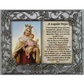 Mount Carmel Pewter Frame with prayer #23DPF-MTC