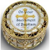 Baptism Gold Rosary Box #489-BAP