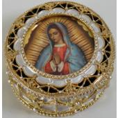 Guadalupe Gold Rosary Box #489-G