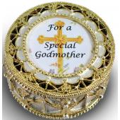 Godmother Gold Rosary Box #489-GM