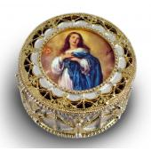 Immaculate Conception Gold Rosary Box #489-IN