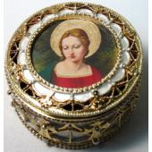 Our Lady  Gold Rosary Box #489-MG