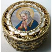 Our Lady  Praying Gold Rosary Box #489-MP2