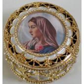 Mystical Rose Gold Rosary Box #489-MR3