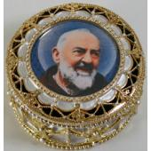 Saint Pio Gold Rosary Box #489-PP4