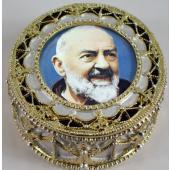 Saint Pio Gold Rosary Box #489-PP