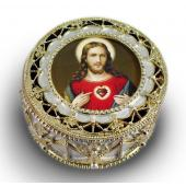 Sacred Heart of Jesus Gold Rosary Box #489-SHJ7