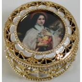 St Therese Gold Rosary Box #489-STD