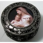 L'Innocecenc Pewter Rosary Box #4892-IN