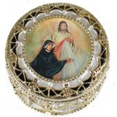 St Faustina Divine Mercy Gold Rosary Box #489-BF2