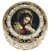 Madonna and Child Gold Rosary Box #489-MC(b)