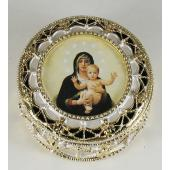 Queen of Angels Gold Rosary Box #489-QA