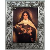 St Therese 5x7 Rose Pewter Frame #57PF-STT