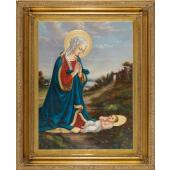 Madonna Adoring Child Oil Canvas Painting #2636-MC(b)