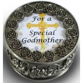 Godmother Pewter Rosary Box #PRBX-GM