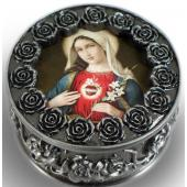 Immaculate Heart Pewter Rosary box #PRBX-IHM7