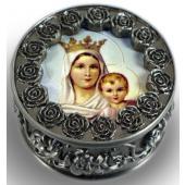 Mount Carmel Pewter Rosary box #PRBX-MTC