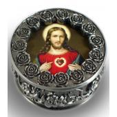 Sacred Heart Pewter Rosary box #PRBX-SHJ7
