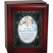 Cross and Roses Baptismal Keepsake Box #SJBX-BAPK